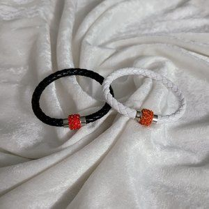 2- faux leather and crystal magnetic bracelets